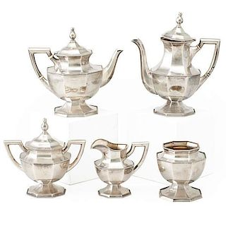 MAUSER STERLING FIVE PIECE TEA AND COFFEE SERVICE