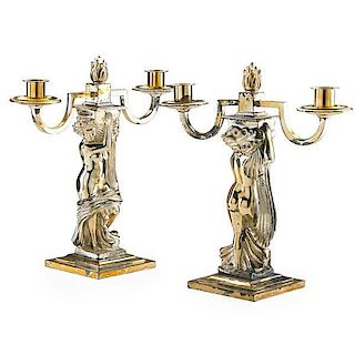 AFTER ANDRE DELUOL, PAIR OF TWO LIGHT CANDELABRA