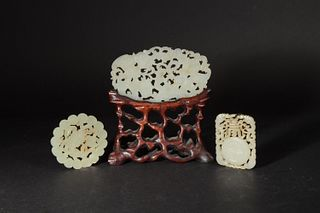 Group of 3 Pierced Jade Plaques, 18-19th Century