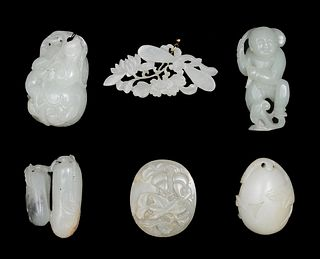 Group of 6 Chinese Jades, 18-19th Century