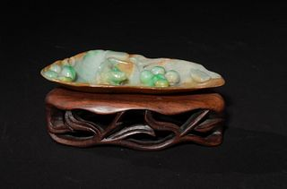 Chinese Carved Jadeite Brush Washer, 19th Century