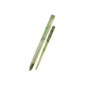 2 Chinese Jadeite Hair Pins, 18-19th Century