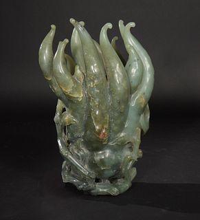 Celadon Jade Buddha's Hand Carving, 18th Century