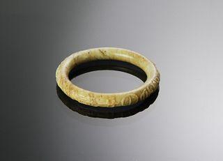 Chinese Chicken Bone Jade Bangle, Ming Dynasty
