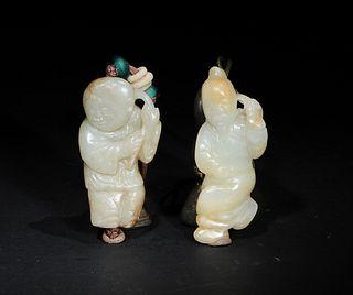 2 Chinese Jade Carvings of Figures, Yuan/Ming