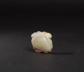 Chinese Jade Lotus & Shell Carving, 18-19th Century