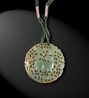 Chinese Jadeite Pierced Plaque, 19th Century