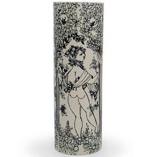 Bjorn Wiinblad Cylinder Porcelain Vase