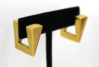 Mid-Century Modern 14K Yellow Gold Wedge Earrings