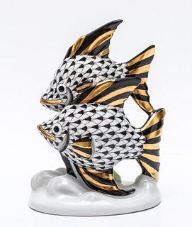 """Herend """"Fish"""" Fishnet Porcelain Figure"""