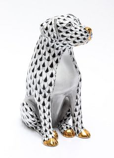 """Herend """"Dog"""" Fishnet Porcelain Figure"""