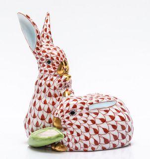 """Herend """"Rabbits"""" Fishnet Porcelain Figure"""