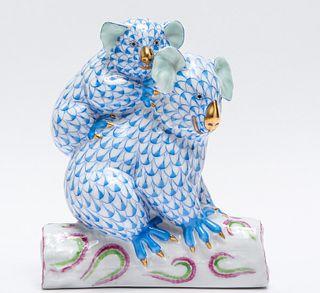 """Herend """"Koalas"""" Fishnet Porcelain Figure"""