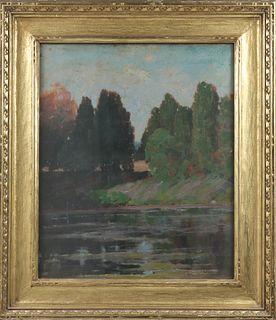 """J Stewart Barney """"Tranquil Lake"""" Oil"""