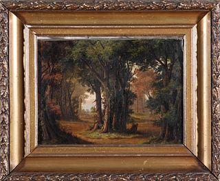 19th C. Forest Landscape Oil on Board