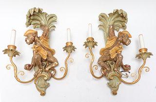 Whimsical Monkey Sconces, Pair