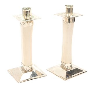 Modern Bone Candlesticks with Chrome Mounts, Pair
