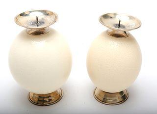 Modern Ostrich Egg Candlesticks, Set of 2