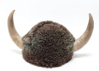 Fur & Horn Viking Style Helmet