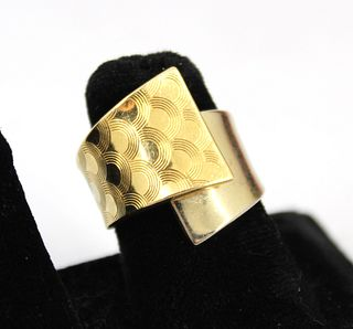 18K Yellow Gold Modern Split Shank Ring