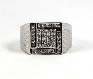 14K White Gold & Diamonds Men's Ring