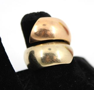 Mid-Century Modern 14K Yellow And Rose Gold Ring