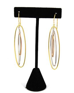 Vintage 18K Tri-Gold Nesting Hoop Earrings