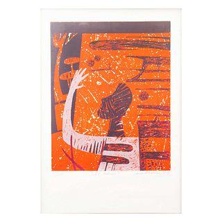 """Ramiro Torreblanca. """"El adiós"""". Firmada y fechada '87. Serigrafía, 52/125. Enmarcada. 50 x 40 cm"""