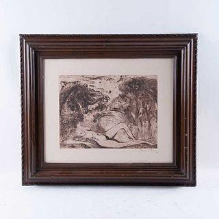 Francisco Corzas. Sin título. Grabado, 10/75 Firmado y fechado 72. Enmarcado. Detalles de conservación. 29 x 40 cm