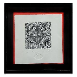 """Joel Rendón. """"Sol Completo"""". Firmado y fechado 1994. Grabado, 10/50. Enmarcado. 20 x 20 cm"""