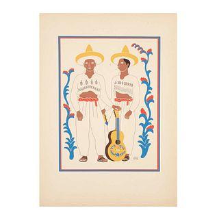 """Carlos Mérida. Chontales, Estado de Tabasco, de la carpeta """"Trajes Regionales mexicanos"""". Firmado. 1945. Serigrafía. 45 x 33 cm."""