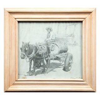 Edgardo Coghland. Campesino y caballo. Firmada a lápiz. Reprografía 173/1000. Enmarcada. 24 x 27 cm.