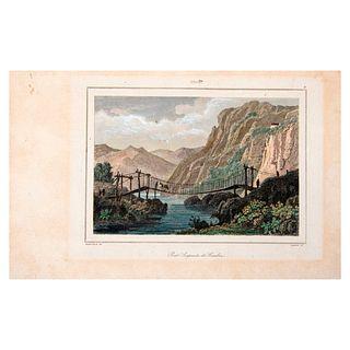 Vander-Burch, Lejeune. Ca. 1840. Chili. Pont Suspendu de Cimbra. Grabado coloreado a mano. 9 x 13 cm