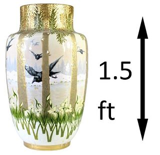 Monumental K&G French Luneville Vase Circa 1880
