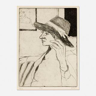 Richard Diebenkorn, #5 (Phyllis Wears a Hat) from 41 Etchings Drypoints by Richard Diebenkorn