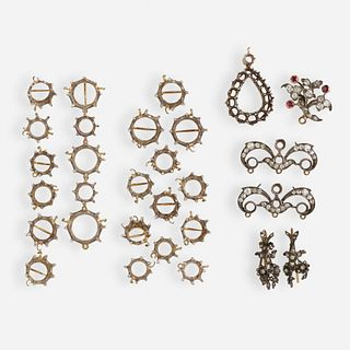 Group of Antique silver and gold mountings