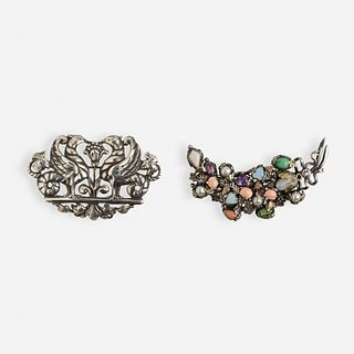 Peruzzi, Two silver brooches