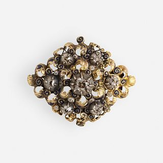Antique diamond, gold, and silver brooch