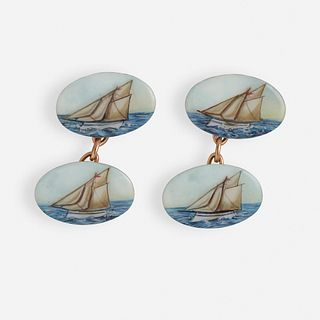 Enamel sailboat cufflinks