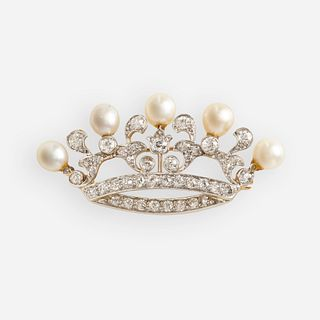 Antique diamond and cultured pearl crown brooch