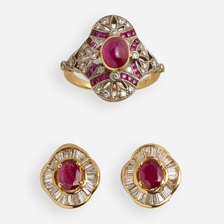 Ruby and diamond ring with pair of earrings