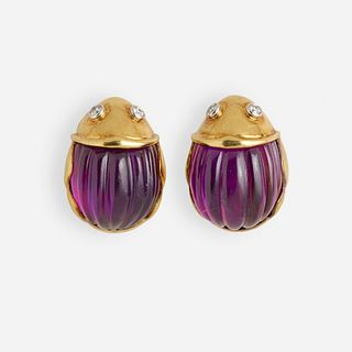 Tiffany & Co., Amethyst and diamond beetle ear clips