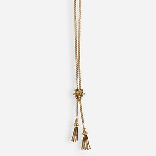 Antique gold slide tassel necklace