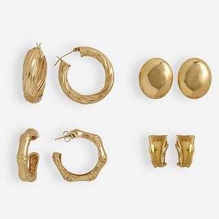 Four pairs of gold earrings