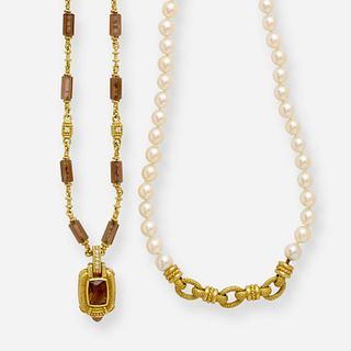 Judith Ripka, Smoky quartz and cultured pearl necklaces