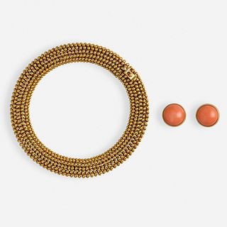 Tiffany & Co., Gold bracelet and coral ear studs