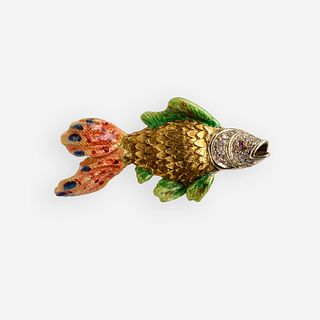 Diamond, ruby, enamel, and gold fish brooch