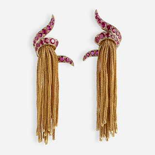 Cartier, Mid-Century gold and ruby fringe earrings