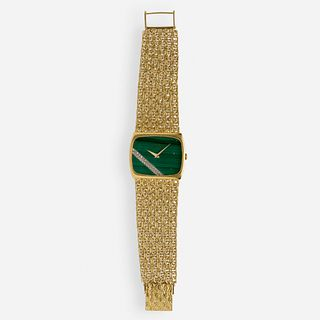 Juvenia, Malachite, diamond, and gold wristwatch