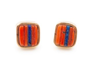 Charles Loloma (HOPI, 1921-1991) Gold, Lapis, and Coral Earrings